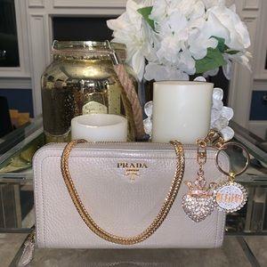 Handbags - ‼️SOLD‼️Prada beige gray crossbody zippered wallet